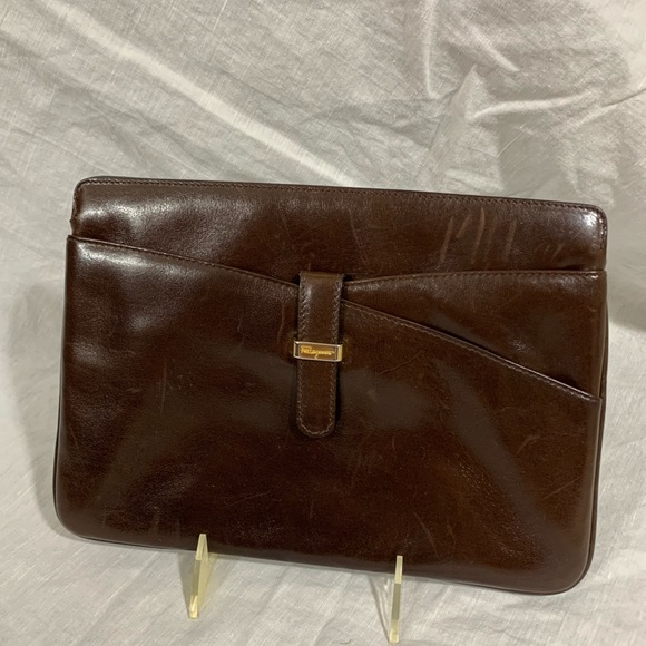 Vintage Ferragamo Brown Leather Clutch